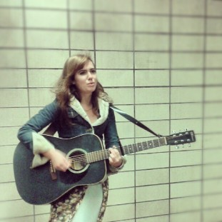 the lovely emily skahan of motel raphael busking in st laurent metro